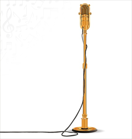 microphone stand: Golden retro microphone on stand