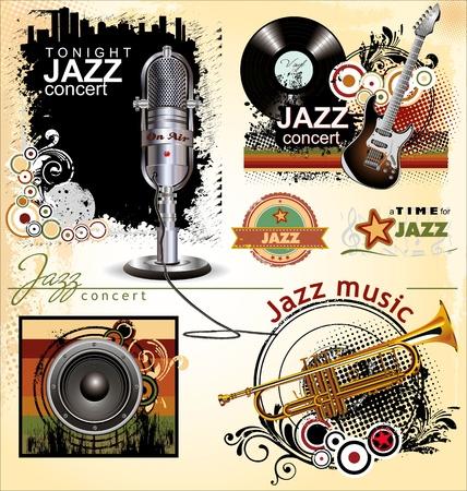 Grunge musica jazz banner set Vettoriali
