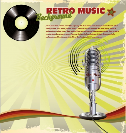 g clef: Retro music background with Microphone On Stand and vinyl Illustration