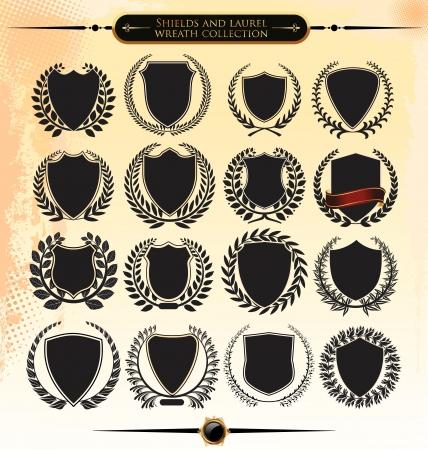 Colección corona de laurel y escudos Ilustración de vector