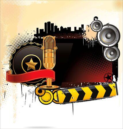 musica electronica: Abstract grunge música de fondo Vectores