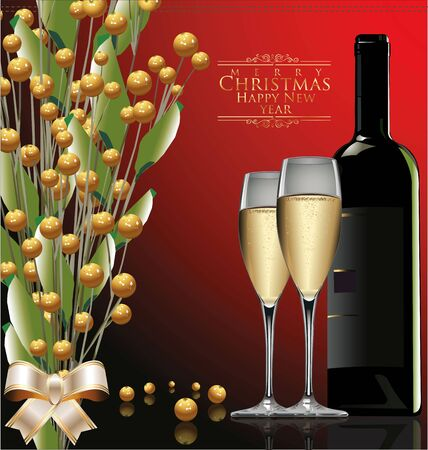 Christmas greeting card - glasses and bottle of wine, illustration Stock Vector - 19137551