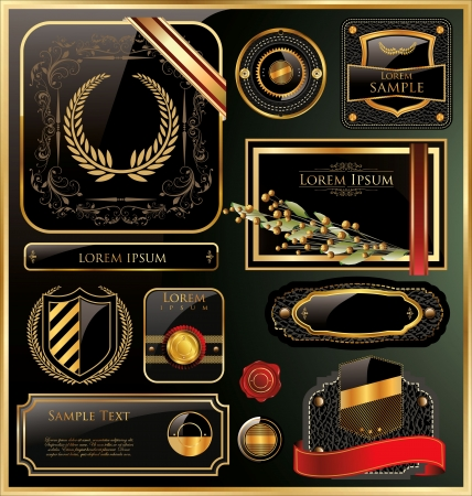 wax glossy: Elegant golden labels