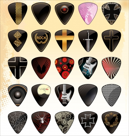 acoustic: Guitar pick set Illustration