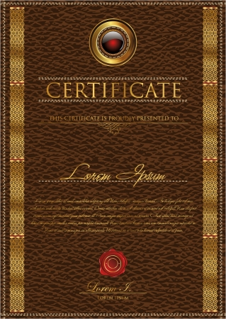 bank book: Leather Certificate template