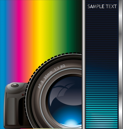 digital slr: background with the camera and place for text Illustration