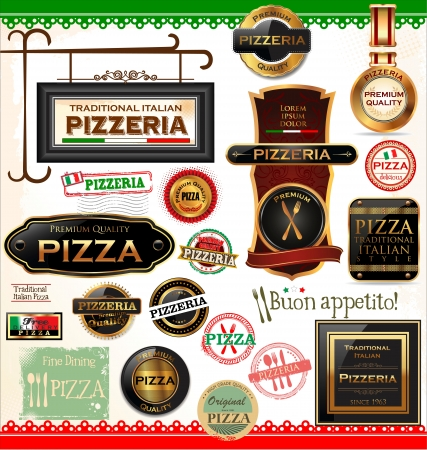italian pizza: Pizza labels Illustration