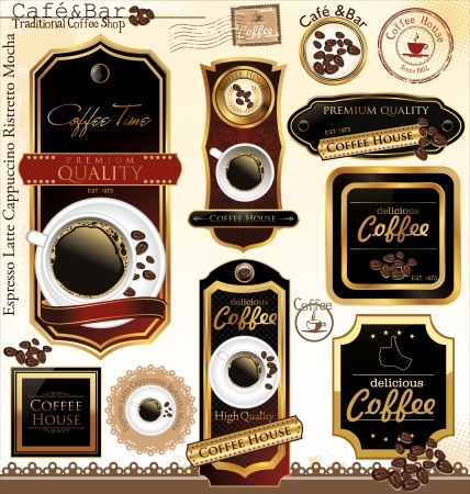 Premium quality coffee house label, illustration