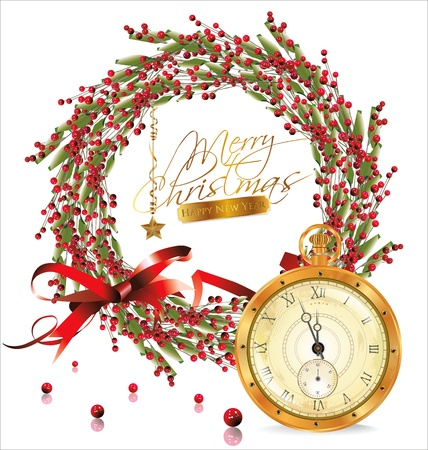 Red bubble christmas wreath and golden old watch Vector
