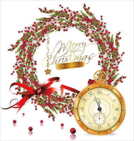 fir cone: Red burbuja corona de navidad y reloj antiguo de oro