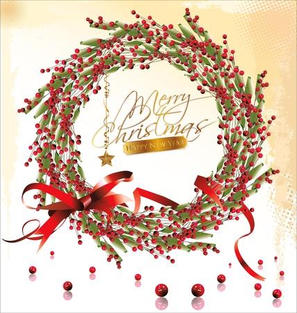 advent wreath: Red bubble christmas wreath  illustration Illustration
