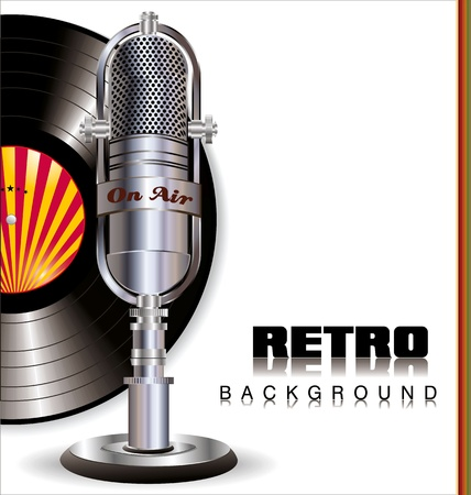 on records: Retro music background