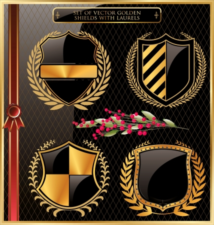 casaco: Conjunto de escudos de ouro com louros