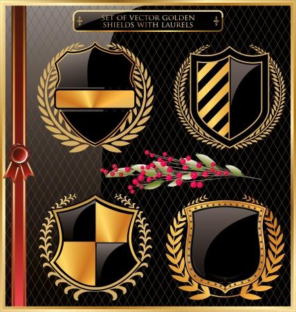 wappen: Set goldene Schilde mit Lorbeeren
