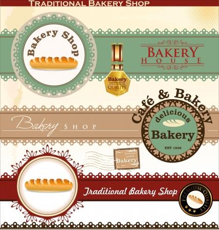 Insignias y etiquetas Panadería Retro Ilustración de vector