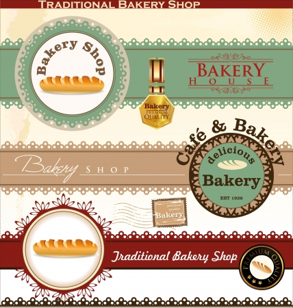 pastry shop: Retro Bakery Badges And Labels