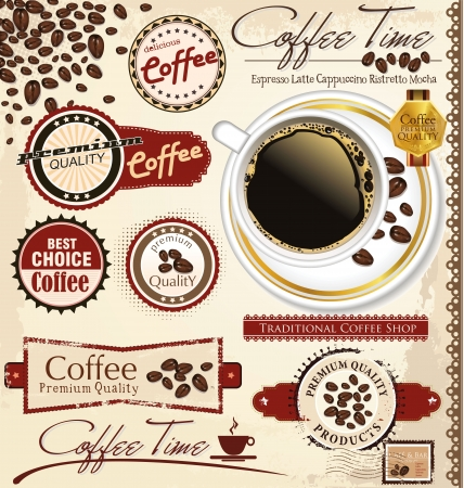 Vintage retro coffee badges and labels Stock Vector - 19137581