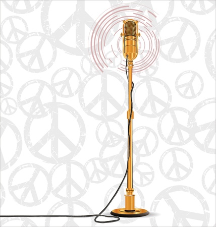 Golden old microphone Vector