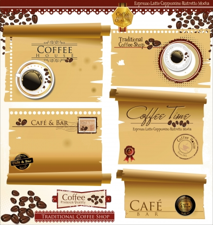 vintage cafe: Vintage retro coffee badges and labels and old paper  illustration