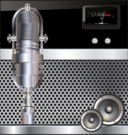radio microphone: Music background with old microphone