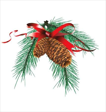 moños de navidad: Diseño de la Navidad con la cinta roja y cono del pino Vectores