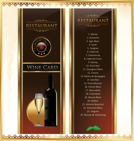 festive occasions: Elegant Drink menu card with wine glass and bottle