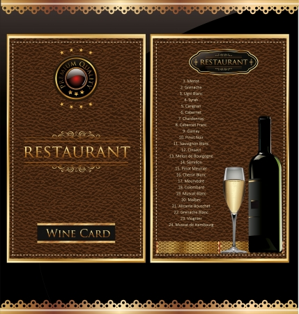 Illustration of drink menu card with wine glass and bottle on leather background Stock Vector - 19160366