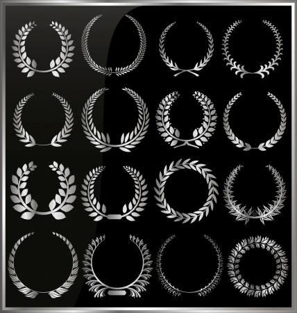 laurel leaf: Set from silver laurel wreath on the black background