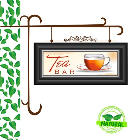 Old street sign - tea bar  Vector