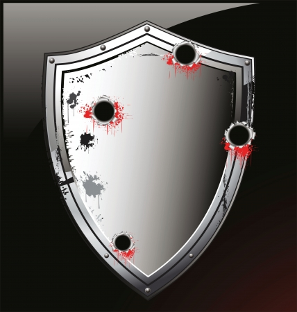 bullet hole: Ornate heraldic shield with bullets hole