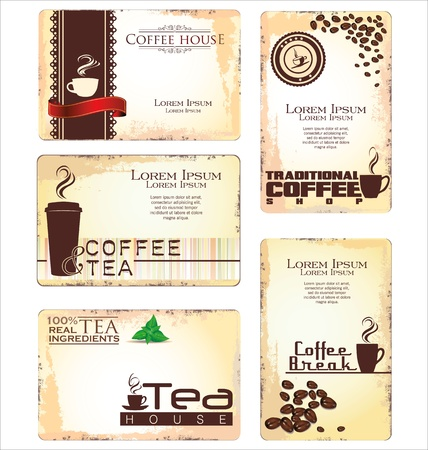 Set of 5 business cards for cafe Vector