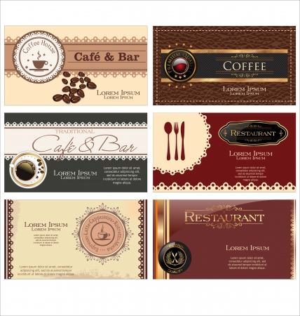 Set of 6 business cards  For cafe and restaurant