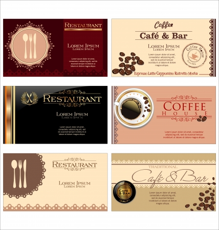 Business cards for cafe and restaurant Ilustrace