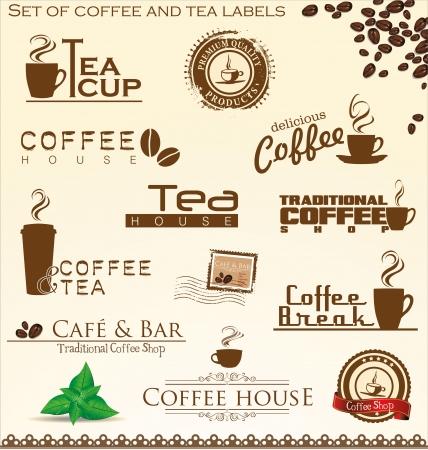 cappuccino: Ensemble de caf� et de th� �tiquettes Illustration