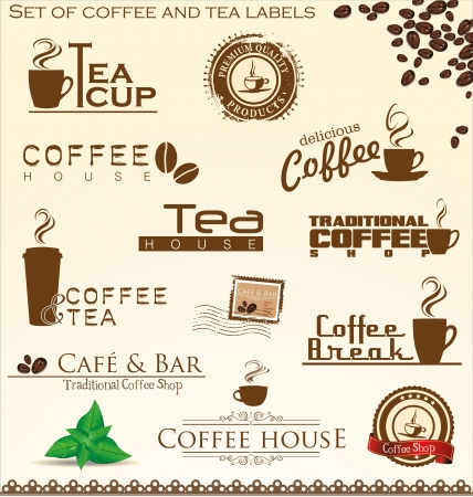 cold coffee: Set of coffee and tea labels