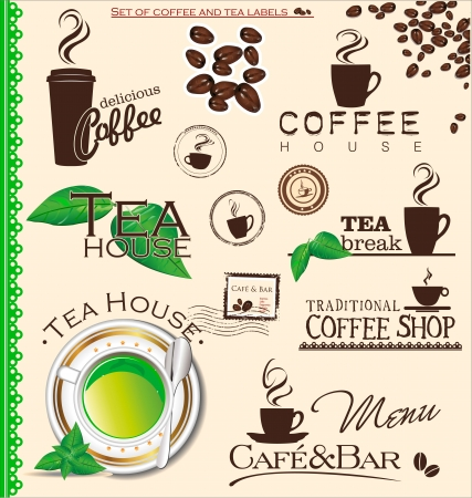 Set of coffee and tea labels Vector