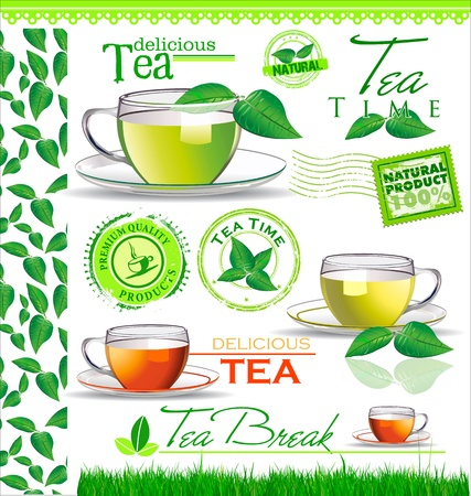 cup: Tea elements for your design