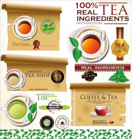Vintage retro tea badges and labels