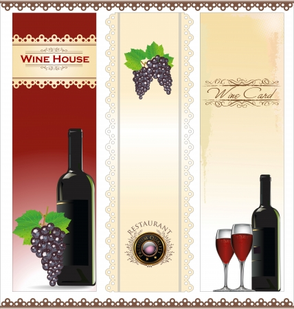 Illustration of drink menu card with wine glass and bottle Vector