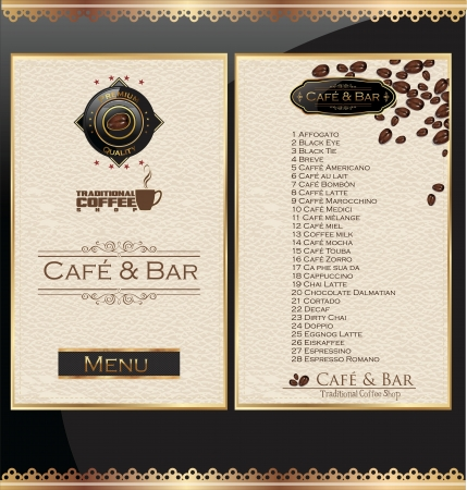 Coffee and tea menu Vector