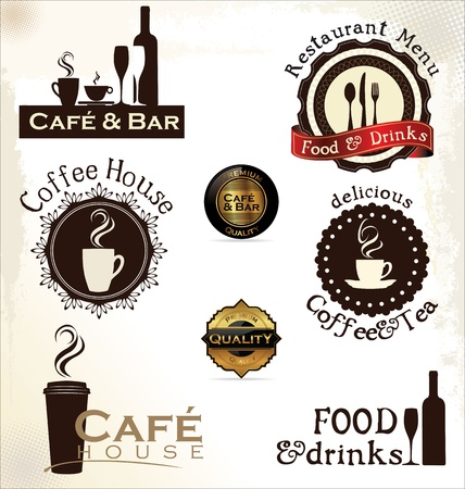 shops: Food and drinks labels for restaurant and cafe Illustration