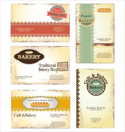 pastry shop: Set of 5 bakery business card templates Illustration