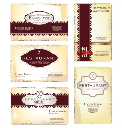 Set of 5 business cards for cafe and restaurant Vector