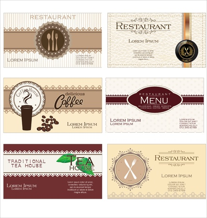 Set of 6 business cards for cafe and restaurant Vector
