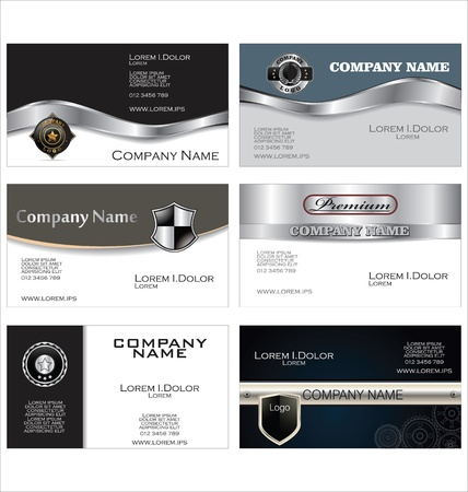 business card: Set of 6 metallic business card templates Illustration