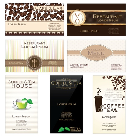 Set of 7 business cards for cafe and restaurant Vector