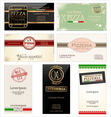pizzeria label: Set of 7 business cards for pizzeria and restaurant Illustration