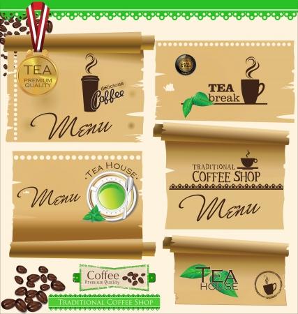 carta de postres: Insignias vintage retro caf� y etiquetas y papel viejo