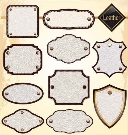 leather belt: Leather labels Illustration