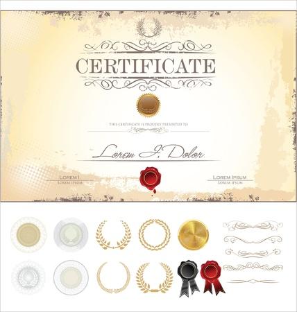 fondo de graduacion: Certificado de plantilla con elementos de dise?o adicionales